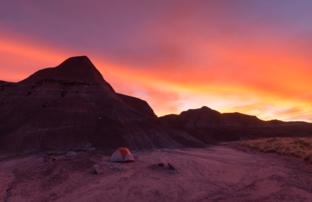 Camping Painted Desert in Petrified Forest National Park