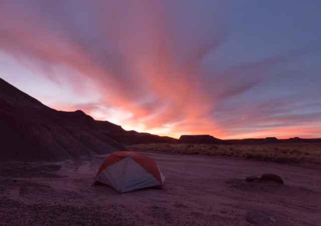 Sunset During Camping Trip at Petrified Forest National Park