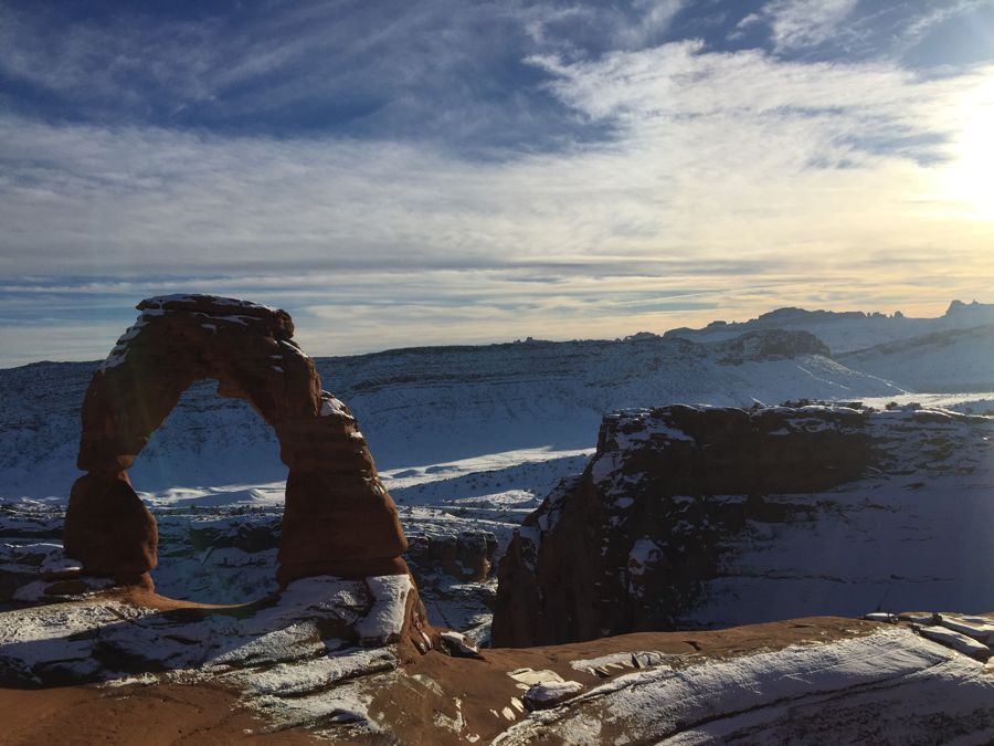 snow-covered Arches National Park