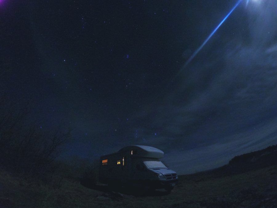RV photo at night using Go Pro Camera