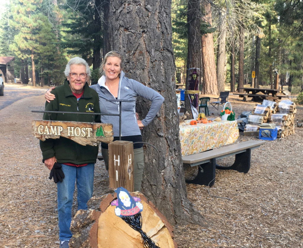Our fabulous campground host Karen at Merrill Campground Eagle Lake