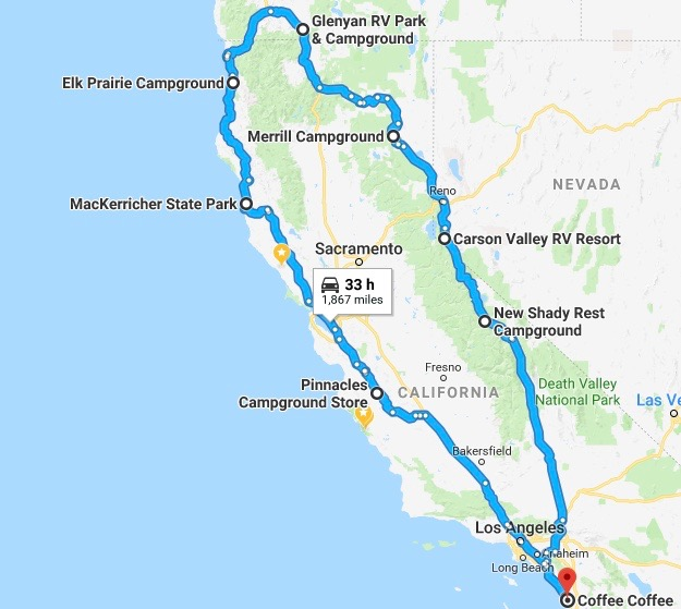 Us Road Trip Ideas: The Grand RV Loop From San Diego, CA To Ashland, OR And Back