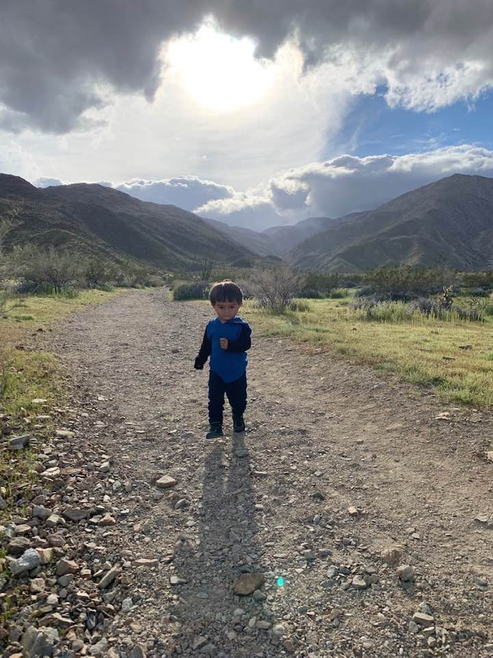 toddler on hiking trip