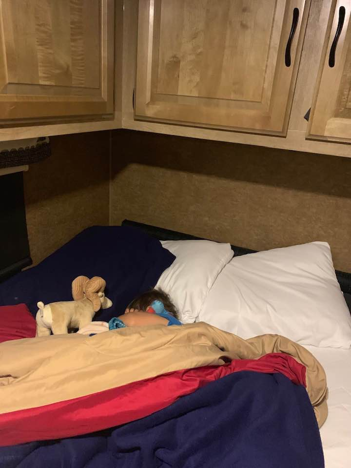 Toddler sleeping in the RV rental