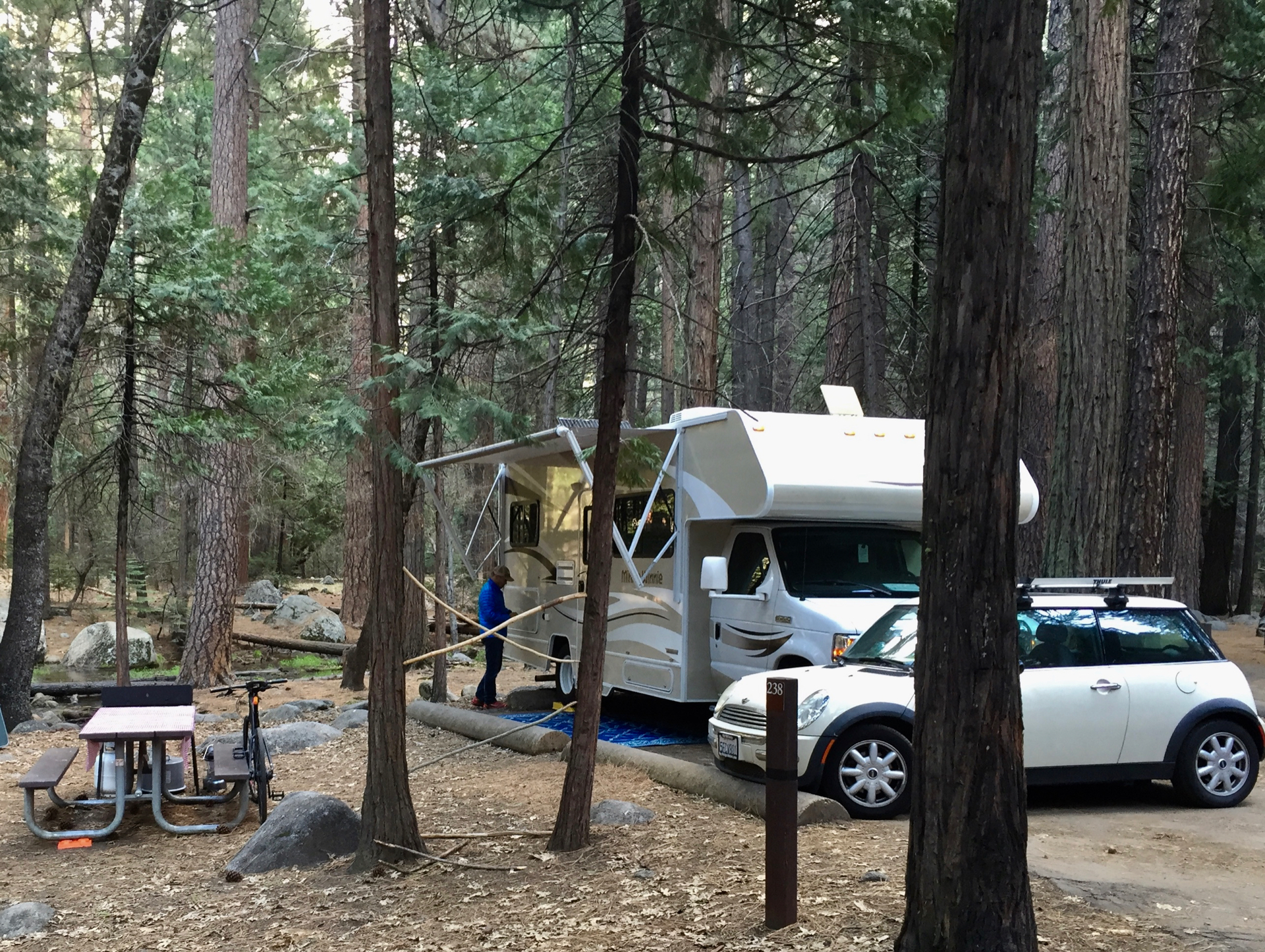 Camping in Upper Pines Campground in Yosemite Valley with San Diego RV Rental